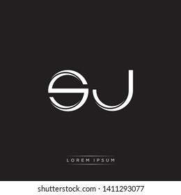 sj s j logo Initial Letter Split Lowercase Modern Isolated on Black White