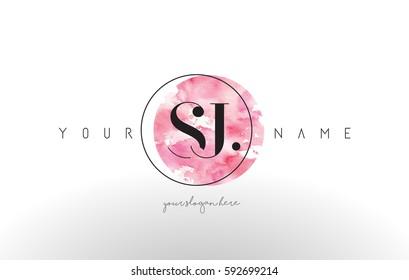 SJ Watercolor Letter Logo Design with Circular Pink Brush Stroke.