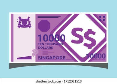 Sk: 10000 Singapore Dollar Banknotes paper money vector icon logo illustration and design. Singapore business, payment and finance element. Can be used for web, mobile, infographic, and print.