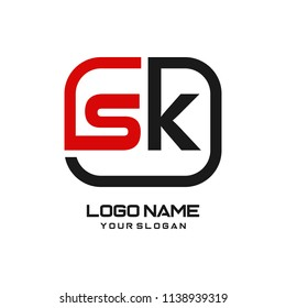 SK initial box letter logo template vector