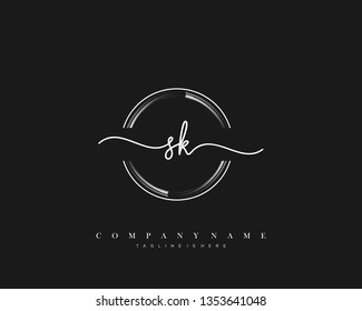 SK initial handwriting logo template vector