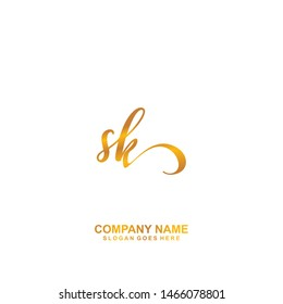 SK Initial handwriting logo vector
