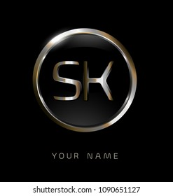 SK initial letters with circle elegant logo golden silver black background