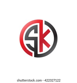 SK initial letters looping linked circle logo red black
