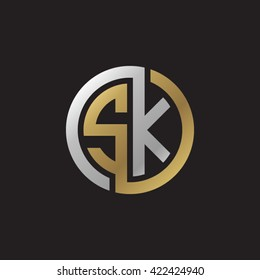 SK initial letters looping linked circle elegant logo golden silver black background