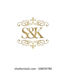 S&K Initial logo. Ornament ampersand monogram golden logo