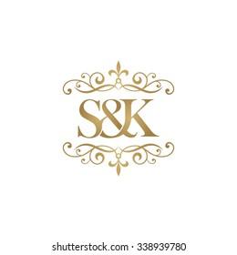 S&K Initial logo. Ornament ampersand monogram golden logo