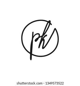 SK initial signature logo. handwriting logo template vector,