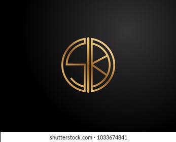 SK Letter circle shape gold color logo Design
