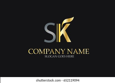 SK Letter Logo Design in Golden and Metal Color