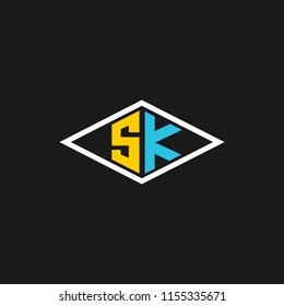 SK logo or Sk letter initials design in vector format.