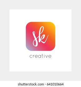 SK logo, vector. Useful as branding, app icon, alphabet combination, clip-art.