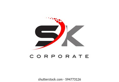 SK Modern Letter Logo Design with Red Swoosh and Dots
