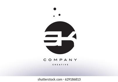 SK S K alphabet company letter logo design vector icon template simple black white circle dot dots creative abstract