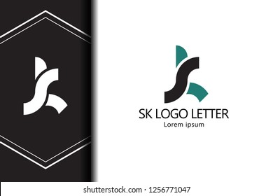 sk s k circle lowercase design of alphabet letter combination with infinity suitable as a logo for a company or business - Vector