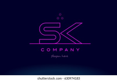 sk s k letter alphabet text pink purple dots contour line creative company logo vector icon design template