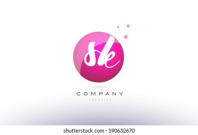 sk s k  sphere pink 3d alphabet company letter combination logo hand writting written design vector icon template