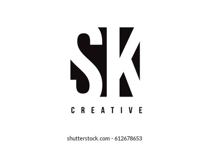 SK S K White Letter Logo Design with Black Square Vector Illustration Template.