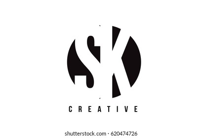 SK S K White Letter Logo Design with Circle Background Vector Illustration Template.