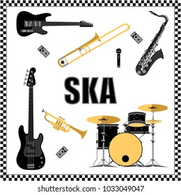 Ska music set vector illustration