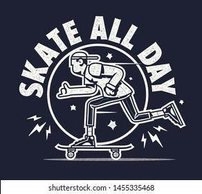Skate all day shirt print sign with skater boy riding skateboard vector stamp