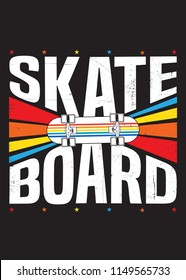 skate board colorful poster graphic shirt kids apparel distressed