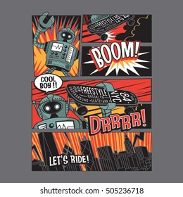 Skate board freestyle robot comic typography, t-shirt graphics, vectors