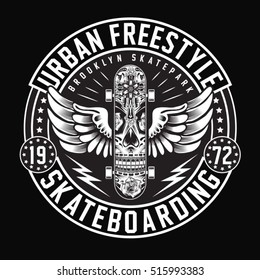 Skate board freestyle typography, t-shirt graphics, vectors