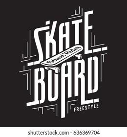 Skate board sport typography, tee shirt graphics, vectors