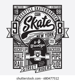 Skate board sport typography, tee shirt graphics, vectors