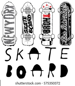 Skate board typography; t-shirt graphics; vectors