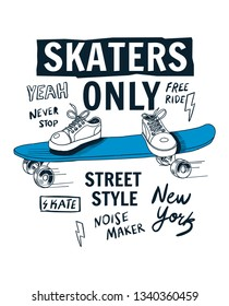 Skate boarding theme vector illustrations with cool slogans for t-shirt print and other uses.