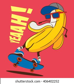 skate and Cartoon skater  banana vector character
