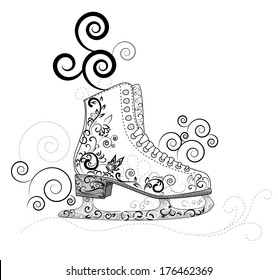 Skate for figure skating decorated