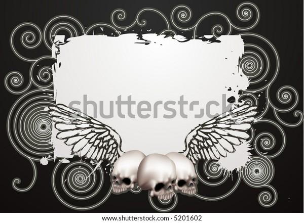 Skate grunge background.  An illustration of a vintage skate style grunge background