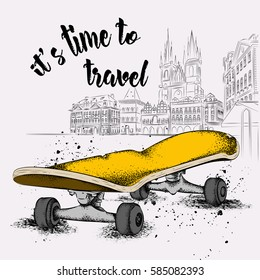 Skate And Grunge Texture Background. The old city of Prague. Vector