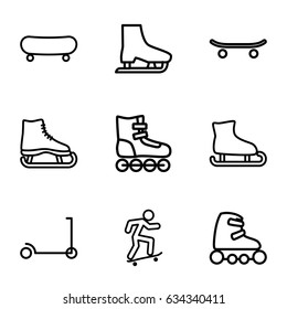 Skate icons set. set of 9 skate outline icons such as kick scooter, skateboard