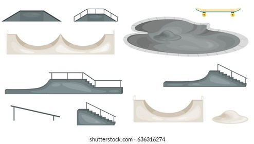 Skate park concept with various ramps vector illustration. roller arena