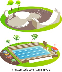 Skate Park and Pool. Fun cartoon map elements. Elements  are in the separate layers.