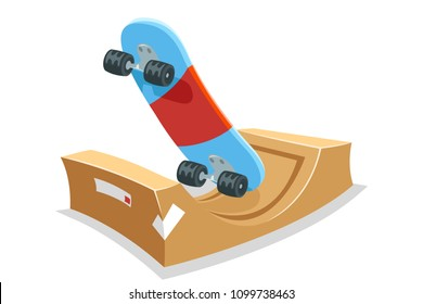 Skate park skateboard halfpipe ramp sport cartoon isolated icon vector illustration