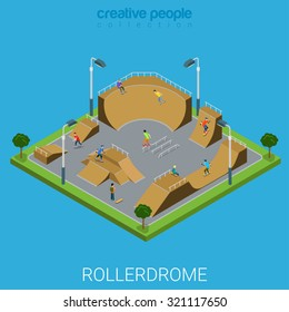 Skate roller arena rollerdrome flat 3d isometric city building outdoor concept. Teenagers on skateboard facility. Build your own world collection.