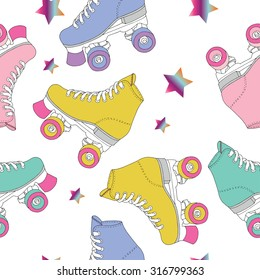 Skate rolls pattern seamless vector drawing