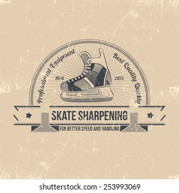 Skate sharpening emblem. Shabby logo with hockey skates in a retro style.The badge for the rink.