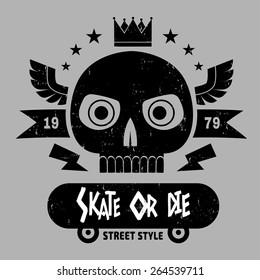 Skate  skull black  logo. vector illustration, ( T-Shirt Print )