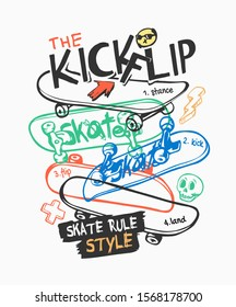 skate slogan with skateboard flipping and icons illustration