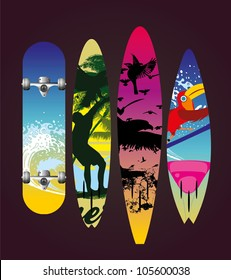 skate and surf boarding
