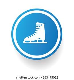 Skate symbol,Blue button,vector