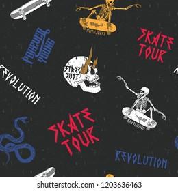 Skate tour Print pattern seamless, vector ,skull, snake,  skateboard