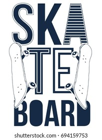 skateboard and skateboard badge illustration vector.