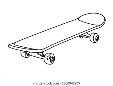 skateboard contour vector illustration